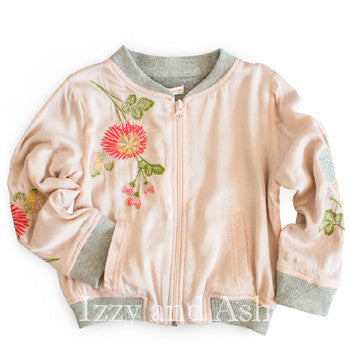 Mimi and Maggie Girls Floral Embroidery Silky Jacket|Mimi and Maggie Fall 2017|Mimi and Maggie|Girls Outerwear|Girls Jackets|Children Coats|Girls Coats|Mimi and Maggie Outerwear|Mimi and Maggie Jackets|Mimi and Maggie Coats|Children Outerwear|Kids Outerwear|Children Clothing|Kids Clothing|Girls Floral Jackets|Tween Floral Jackets|Kids Pink Jackets|Children Pink Jacket