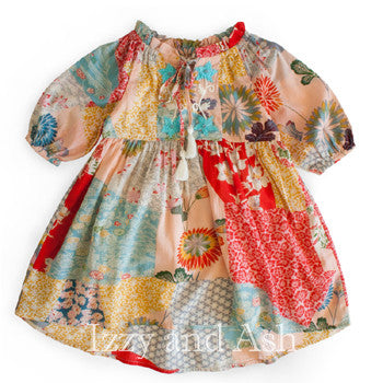 Mimi and Maggie Girls Dandelion Flowers Dress|Mimi and Maggie Fall 2017|Mimi and Maggie|Mimi and Maggie Dresses|Girls Dresses|Tween Dresses|Designer Children's Clothing|Tween Clothing|Designer Girls Clothing|Girls Peasant Dresses|Designer Girls Dresses|Children Peasant Dresses|Patchwork Children Dresses|Patchwork Dresses|Girls Red Dresses|Floral Dresses|Children Floral Dresses