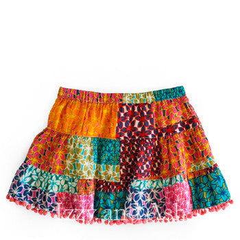 Mimi and Maggie Girls Confetti Twirl Skirt|Mimi and Maggie|Mimi and Maggie Fall 2017|Izzy and Ash|Girls Skirts|Toddler Skirts|Tween Skirts|Children Skirts|Kids Skirts|Toddler Girls Skirts|Patchwork Skirt|Patchwork Bottoms|Pom Pom Skirt|Pompom Skirts|Trendy Girls Skirts|Fashionable Girls Skirts|Cute Skirts|Cute Girls Skirts