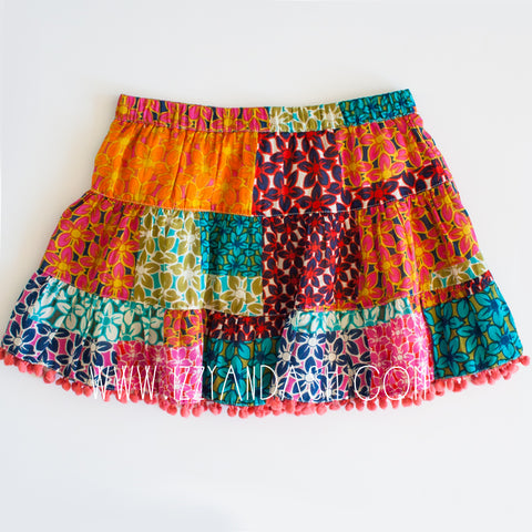 Mimi and Maggie|Mimi and Maggie Fall 2017|Mimi and Maggie Girls Confetti Twirl Skirt|Mimi and Maggie Skirts|Girls Skirts|Toddler Skirts|Tween Skirts|Children Skirts|Kids Skirts|Pom Pom Skirt|Patchwork Skirt|Toddler Clothing|Tween Clothing