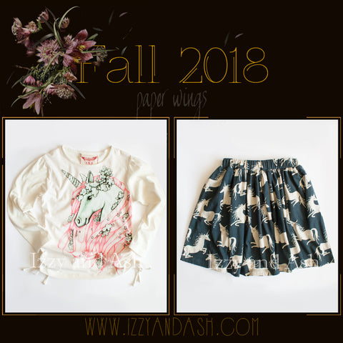 Paper Wings|Paper Wings Fall 2018|Little Wings|Little Wings Fall 2018|Paper Wings Clothing|Paper Wings Fall 2018 Preorders |Designer Children's Clothing Boutique|Tween Clothing|Unicorn Shirt|Unicorn Skirt|Unicorn Dress|Tween Dresses|Toddler Clothes|Toddler Girls Clothes