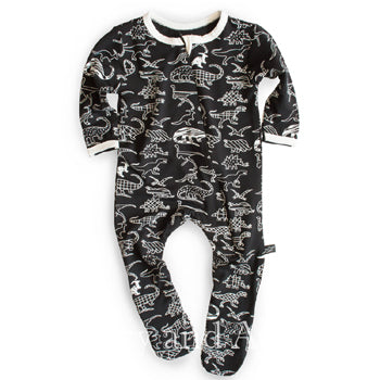 Peregrine Gender Neutral Dinosaur Footie|Peregrine|Peregrine Fall 2018|Gender Neutral Baby Clothes|Unisex Baby Clothes|Gender Neutral Layettes|Unisex Baby Layettes|Baby Footies|Baby Boys Footies|Baby Girls Footies|Dinosaur Pajamas|Baby Pajamas|Baby Boy Pajamas|Baby Girl Pajamas
