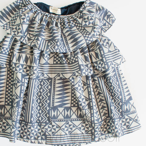 Vierra Rose Girls Mila Ruffle Dress|Vierra Rose|Vierra Rose Spring 2017|Girls Ruffle Dress|Ruffle Dress|Dresses|Girls Dresses|Toddler Dresses|Tween Dresses|Tier Dress|Print Dress|Ethnic Print Dress|Navy Print Dress|Off Shoulder Dress|Designer Girls Dresse|Trendy Children's Clothes|Designer Children's Clothing|Designer Kids Clothes
