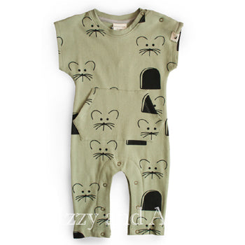 Turtledove Gender Neutral Mouse Romper|Mouse Romper|Mouse Jumpsuit|Baby Mouse Romper|Baby Romper|Baby PJs|Baby Pajamas|Organic Baby Pajamas|Organic Cotton Baby Clothes