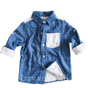 Vierra Rose|Vierra Rose Boys Color Block Button Down Shirt|Boys Clothing|Boys Blue Shirt|Boys Button Down Shirt|Toddler Button Down Shirts|Boys Blue Shirt|Boys Blue Linen Shirt|Boys Dress Shirts|Trendy Boys Clothing|Unique Boy Clothing|Blue Polka Dot Shirt