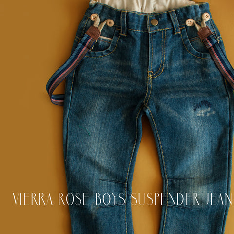 Vierra Rose Boys Suspender Jean|Suspender Jean|Jeans|Denim|Designer Boys Jeans|Designer Children's Clothing|Designer Kids Clothes|Toddler Jeans|Boys Suspenders|Children Suspenders|Kids Suspsneders