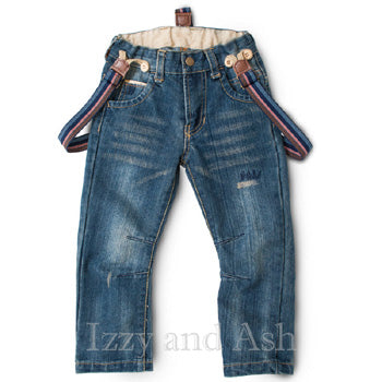 Vierra Rose|Vierra Rose Boys Suspender Jeans|Suspender Jeans|Boys Jeans|Boys Suspenders|Toddler Suspenders|Designer Toddler Clothes|Designer Boys Clothes