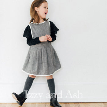 Vierra Rose Girls Aliya Grey Jumper Dress|Vierra Rose|Vierra Rose Fall 2016|Designer Girls Clothes|Designer Children's Clothing|Toddler Clothes|Tween Girls Clothes