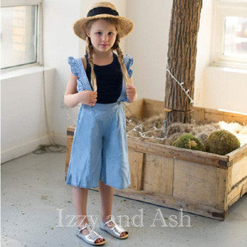 Vierra Rose Girls Chambray Ruffle Overall|Vierra Rose|Vierra Rose Spring 2017|Girls Overalls|Tween Overalls|Denim Overalls|Jean Overalls|Girls Designer Clothing|Toddler Girls Clothes|Toddler Overalls|Toddler Girls Overalls|Girls Rompers|Denim Rompers