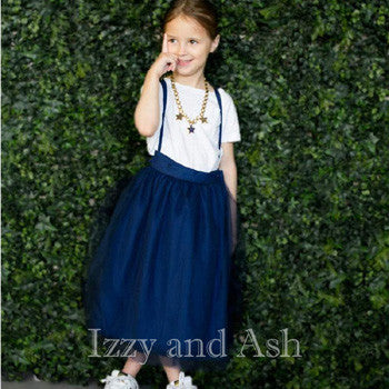 Vierra Rose Girls Tulle Overall Skirt|Vierra Rose|Vierra Rose Spring 2017|Girls Tutu Skirt|Navy Skirt|Navy Tutu Skirt|Girls Skirts|Toddler Skirts|Tween Skirts|Girls Tutus|Children Tutus|Toddler Tutus|Blue Tutus|Vierra Rose Spring 2017|Designer Children's Clothing|Designer Toddler Clothes|Toddler Clothes|Toddler Girls Clothes|Trendy Toddler Clothes|Tween Clothing|Tween Skirts|Tween Clothes