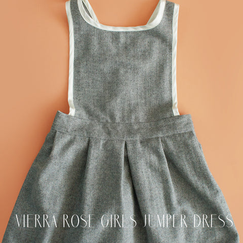 Vierra Rose Girls Aliya Grey Jumper Dress|Vierra Rose|Vierra Rose Girls Clothing|Vierra Rose Dress|Vierra Rose Clothing|Girls Dresses|Designer Children's Clothing|Toddler Girls Dresses|Tweed Dress|Overall Dress