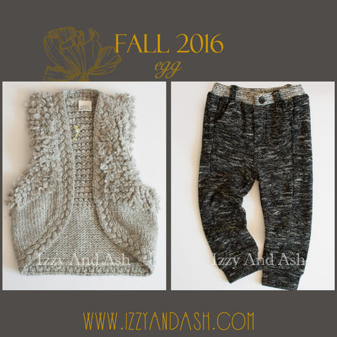 Egg Fall 2016|Egg by Susan Lazar|Egg Girls Grey Fringe Sweater|Egg Boys Marled Pant|Egg Baby
