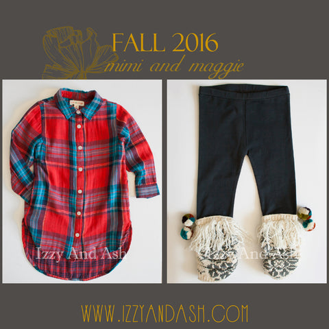 Mimi and Maggie Fall 2016|Mimi and Maggie|Mimi and Maggie Pom Pom Leggings|Pompom Leggings|Mimi and Maggie Girls Red Plaid Tunic