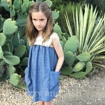 Anthem of the Ants|Girls Jean Dress|Toddler Jean Dress|Denim Fringe Dress|Tween Denim Dress|Children