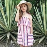 Girls Dresses|Girls Stripe Dress|Toddler Stripe Dress|Toddler Pink Stripe Dress|Tween Stripe Dress|
