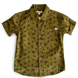 Appaman Boys Olive Bug Out Shirt|Appaman Button Down Shirt|Boys Button Down Shirt