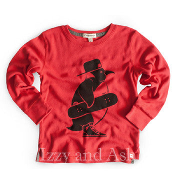 Appaman Boys Red Skater Penguin Shirt|Appaman|Penguin Skater Shirt|Red Penguin Shirt