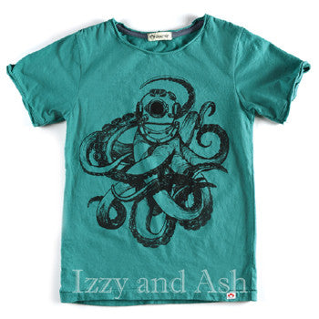 Appaman Boys Viridis Sea Monster Tee|Appaman Octopus Shirt|Boys Teal Shirt|Toddler Graphic Tees