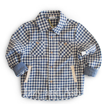 Egg by Susan Lazar Boys Plaid Long Sleeve Shirt|Boys Gingham Shirt|Boys Plaid Shirt