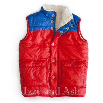 Izzy and Ash|Boys Puffer Vest|Boys Vests|Red Vest|Boys Blue Vest|Boys Sherpa Vest|Boys Outerwear