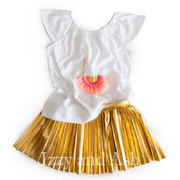 Egg Children's Clothing|Gold Pleated Skirt|Designer Children's Clothing|Girls Bottoms|Girls Pleated Skirt