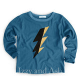 Joah Love Boys Teal Lightning Bolt Tee|Joah Love Fall 2016|Joah Love Boys Shirts