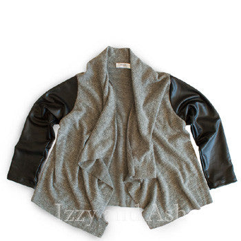 Joah Love Girls Pleather Sleeve Cardian|Joah Love Cardigan|Joah Love Fall 2017|Joah Love Clothes