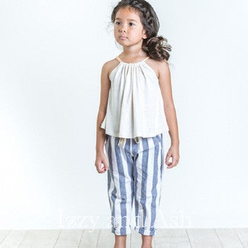 Joah Love Girls Stripe Keen Cuffed Pant|Stripe Pants|Linen Pants|Chambray Pants|Girls Bottoms|Toddler