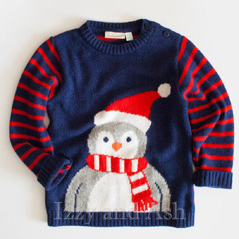 JoJo Maman Bebe Boys Penguin Jumper Sweater