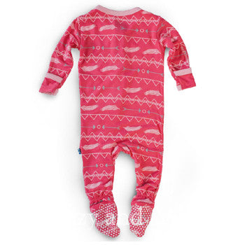 Girls Pink Onesie|Baby Girls Feather Onesie|Kickee Pants Pink Feather Onesie|Kickee Spring 2017