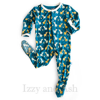 Kickee Pants Infant Boys Peacock Sharing Pups Footie