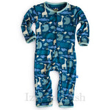 Kickee Pants Spring 2|Kickee Pants Boys Multi Peacock Animal Coverall|Kickee Pants Coveralls|Blue