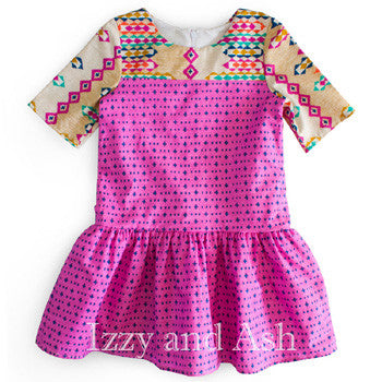 Mabel & Honey|Mabel and Honey|Pink Dresses|Fuchsia Dress|Print Dress|Designer Girls Dresses|Toddler Dress