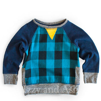 Miki Miette Boys Blue Iggy Plaid Sweater|Miki Miette|Izzy and Ash|Boys Sweater|Blue Plaid Sweater|Toddler Boys