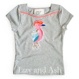 Mim Pi | Designer Children's Clothing | Children's Clothing Boutique | Girls Bird T-Shirt| Sequin Bird Shirt