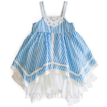 Mimi and Maggie Dress | Blue Stripe Dress | Chambray Dress| Toddler Lace Dress