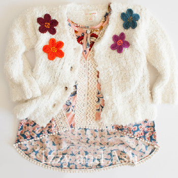 Mimi and Maggie Girls Boucle Flower Jacket
