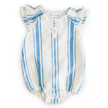 Mimi and Maggie Infant Girls Stripe Scooter Romper **AVAILABLE FOR PREORDER**