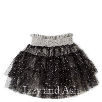 Little Wings Girls Grey/Black Frilled Tiered Skirt