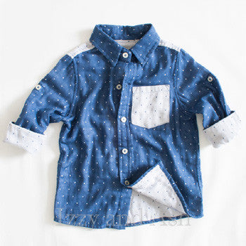 Vierra Rose|Vierra Rose Boys Dot Color Block Button Shirt|Boys Button Down Shirts|Boys Blue Shirts|Boys Summer Clothes|Blue Polka Dot Shirt|Boys Linen Shirts|Boys Blue Linen Shirts|Toddler Boys Clothes|Toddler Boys Shirts|Toddler Clothing