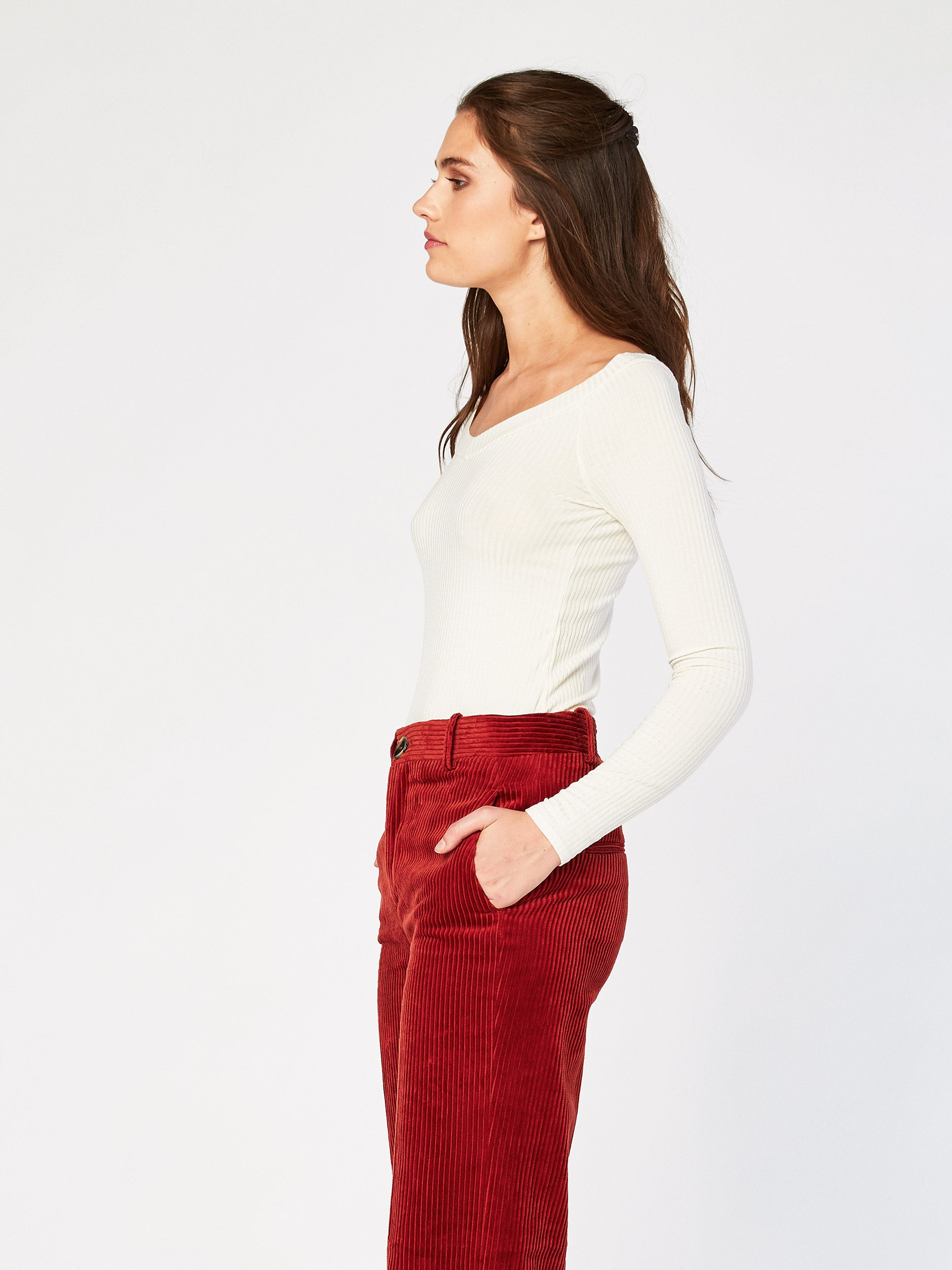 Mabel Open Shoulder Long Sleeve Rib Tee