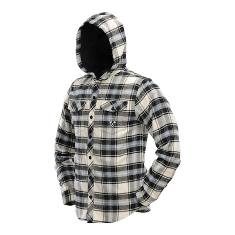 Hooded Flannel - Blue / Tan