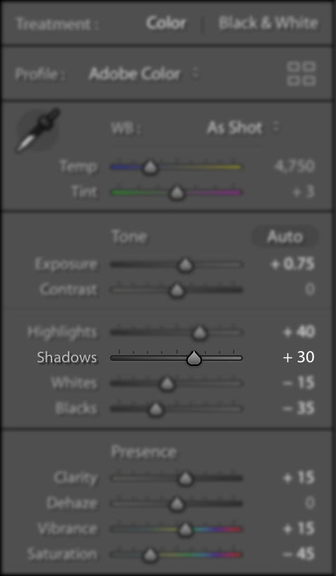 Lightroom Exposure Adjustment Slider