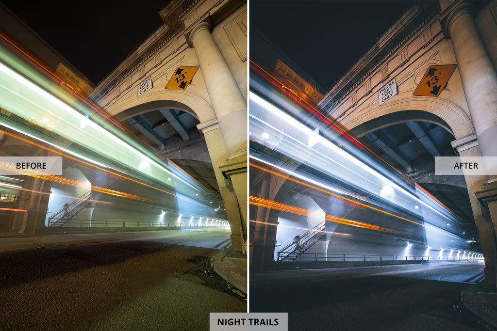 Andrew Optics Night Trails Before and After Images