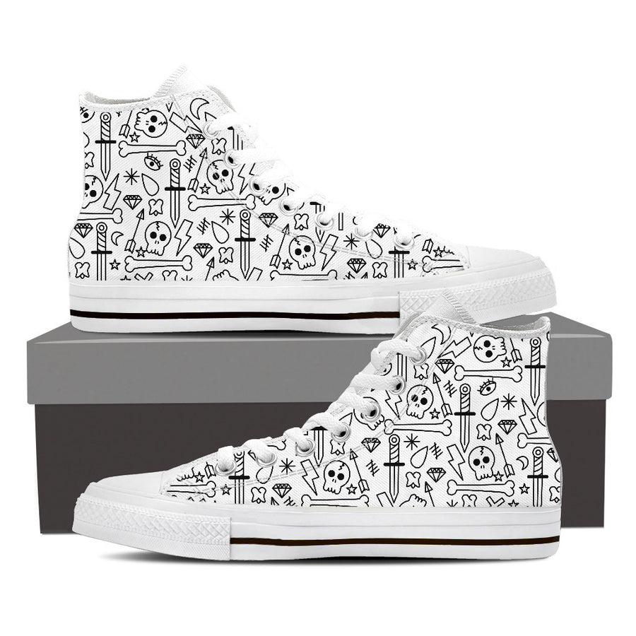 Skull + Daggers - Mens High Tops - Ink and Iron co.