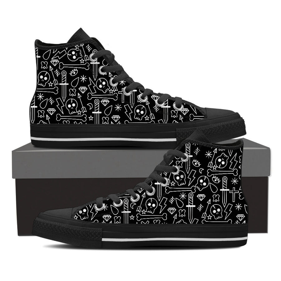 Skull + Dagger - Womens High Tops - Ink and Iron co.