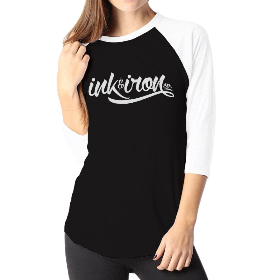 Branded Large - Ladies 3/4 Sleeve Raglan Shirt - Ink and Iron co.