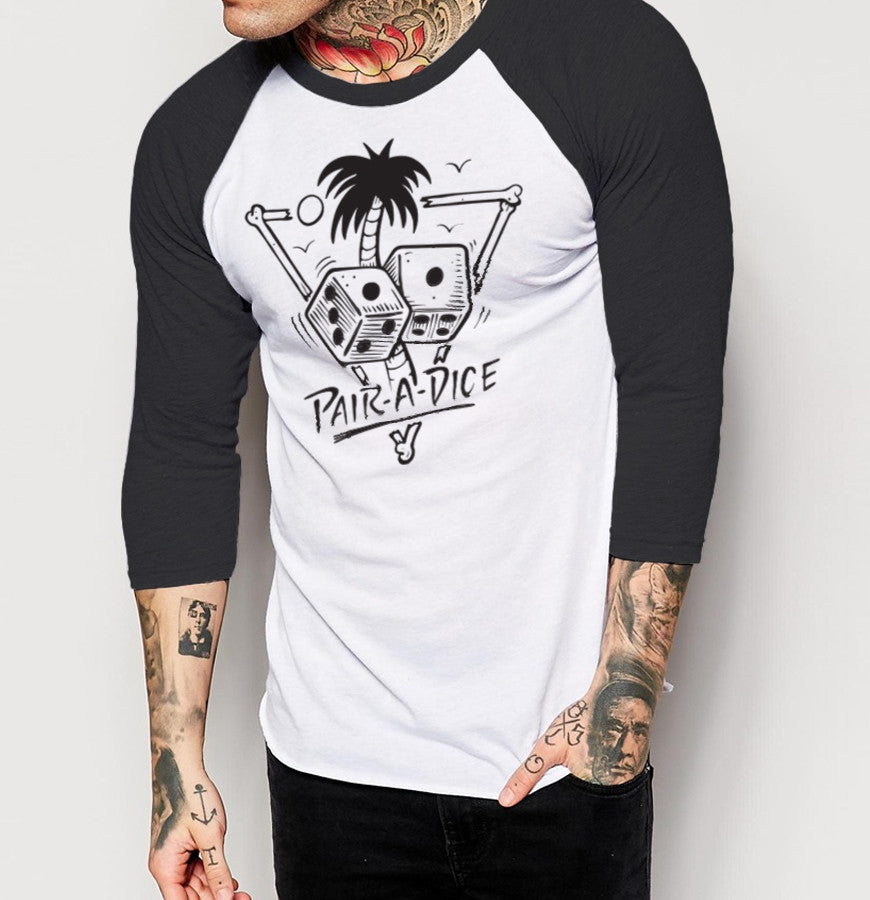 Pair A Dice - Mens 3/4 Sleeve Raglan Shirt - Ink and Iron co.