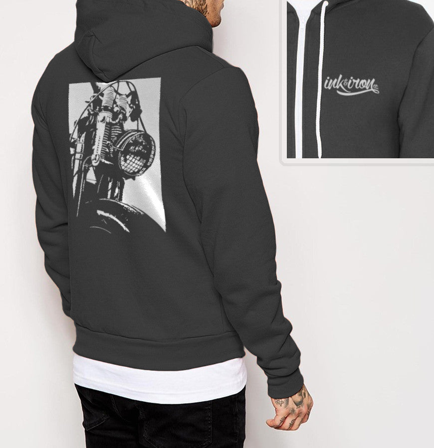 Front End - Mens Back Print Fleece Zip Hoodie - Ink and Iron co.