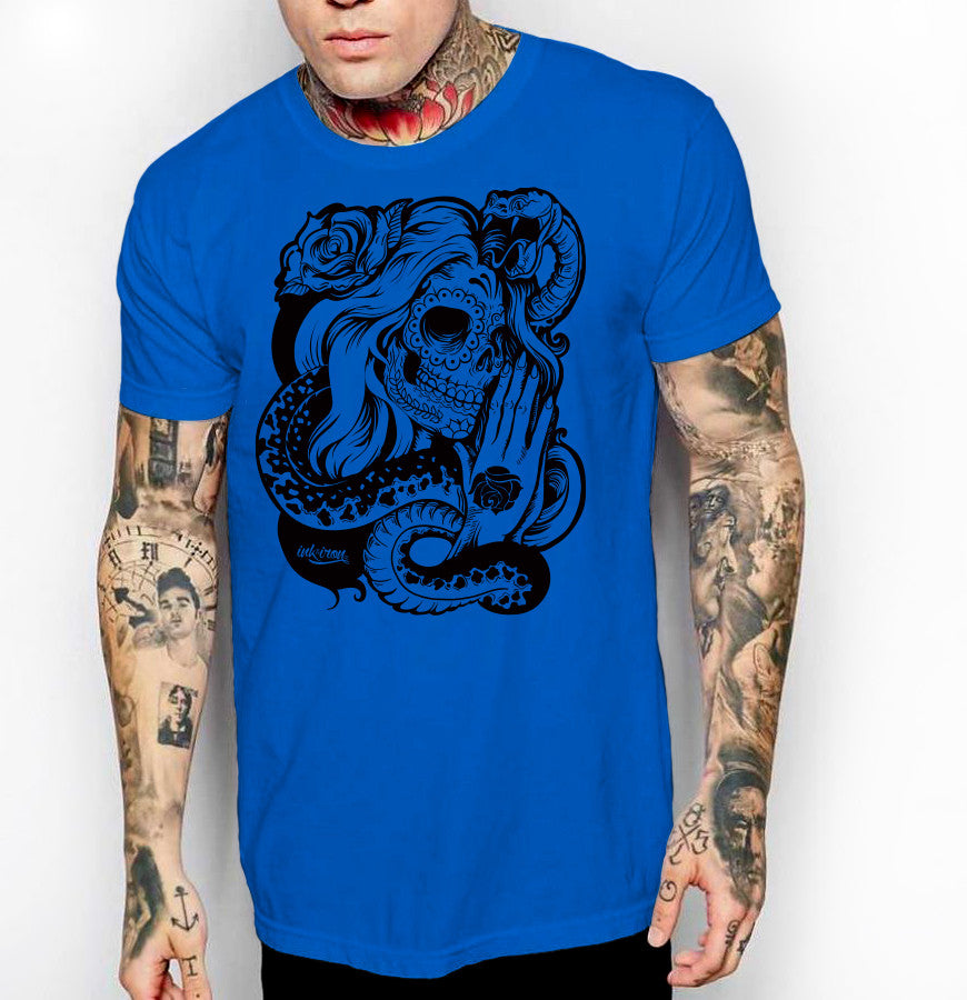 Gypsy Sugar Skull - Front Print Mens Jersey T-Shirt - Ink and Iron co.